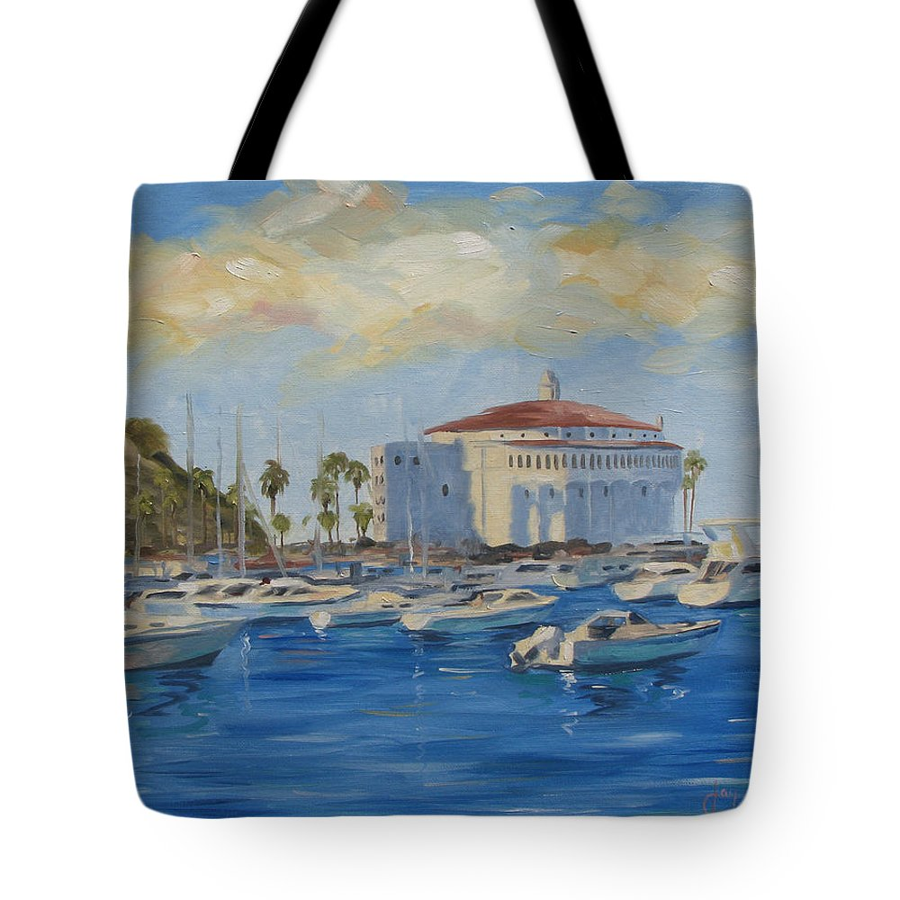California Tote Bag featuring the painting Catallina Casino by Jay Johnson