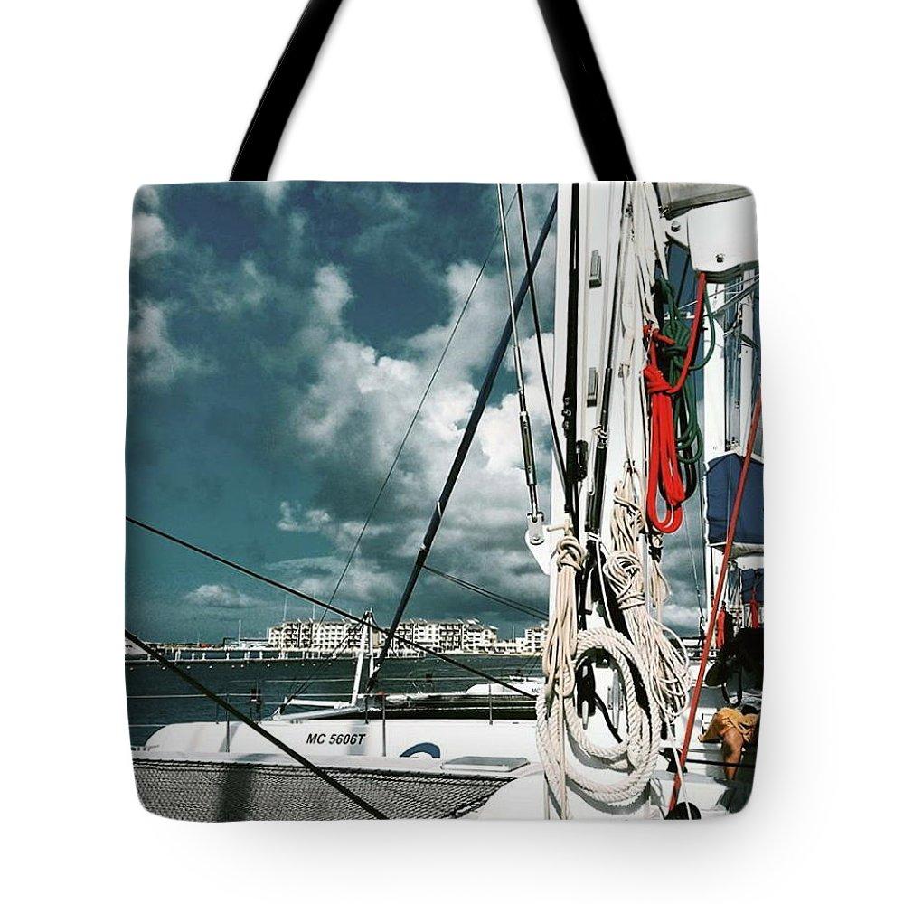 Catamaran Tote Bag featuring the drawing Catamaran by Eloviano Maya