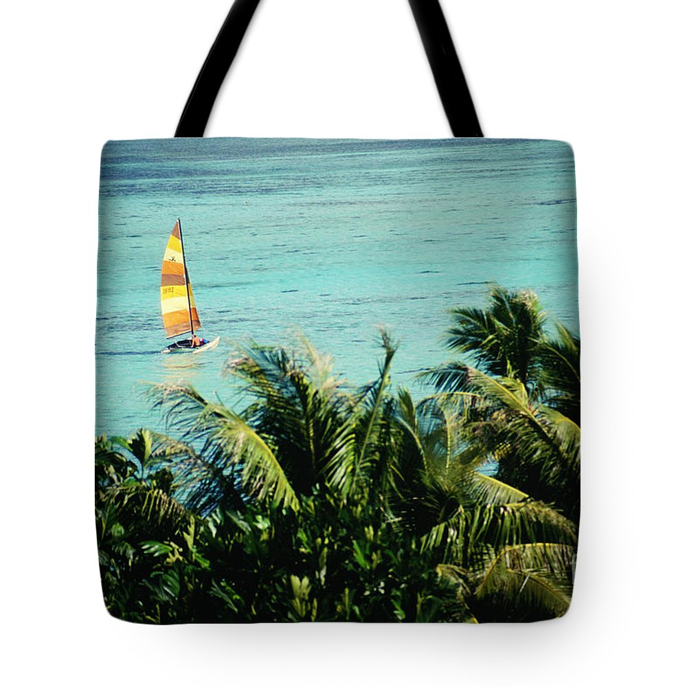 Balance Tote Bag featuring the photograph Catamaran On Tumon Bay by Kyle Rothenborg - Printscapes