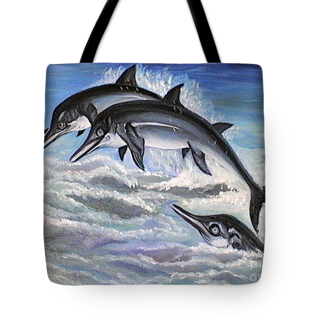 Dolphins Tote Bag featuring the painting Catch Me If You Can by Usha Rai