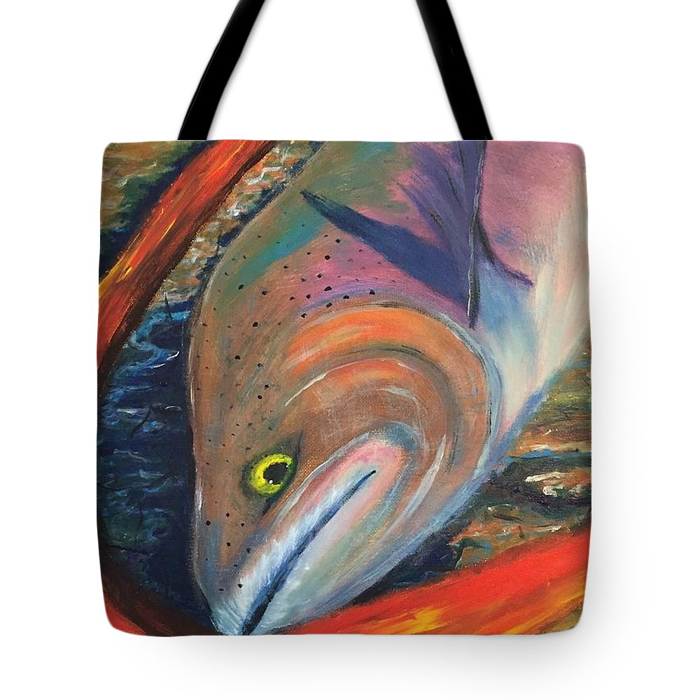 Trout Tote Bag featuring the painting Catch Of The Day by Jill Swartz