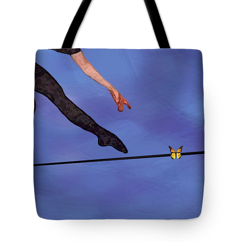 Surreal Tote Bag featuring the painting Catching Butterflies by Steve Karol
