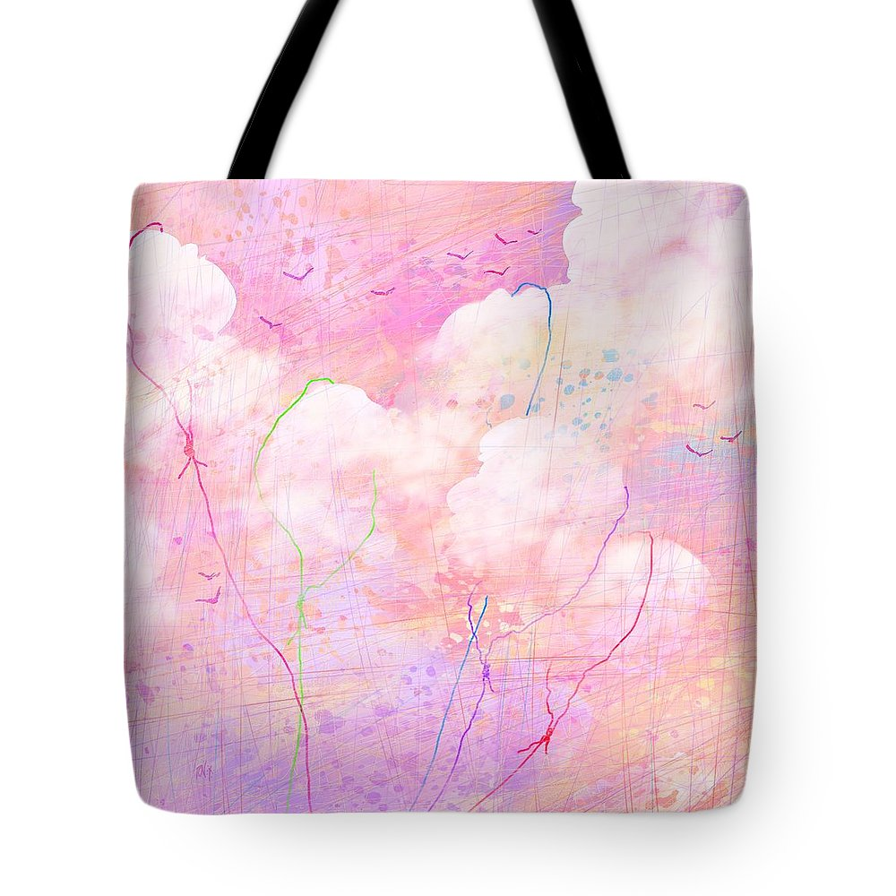 Abstract Tote Bag featuring the digital art Catching Clouds by Rachel Christine Nowicki