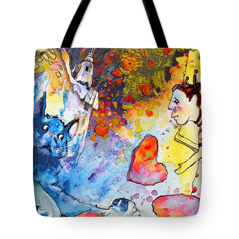 Fantasy Tote Bag featuring the painting Catching Love by Miki De Goodaboom