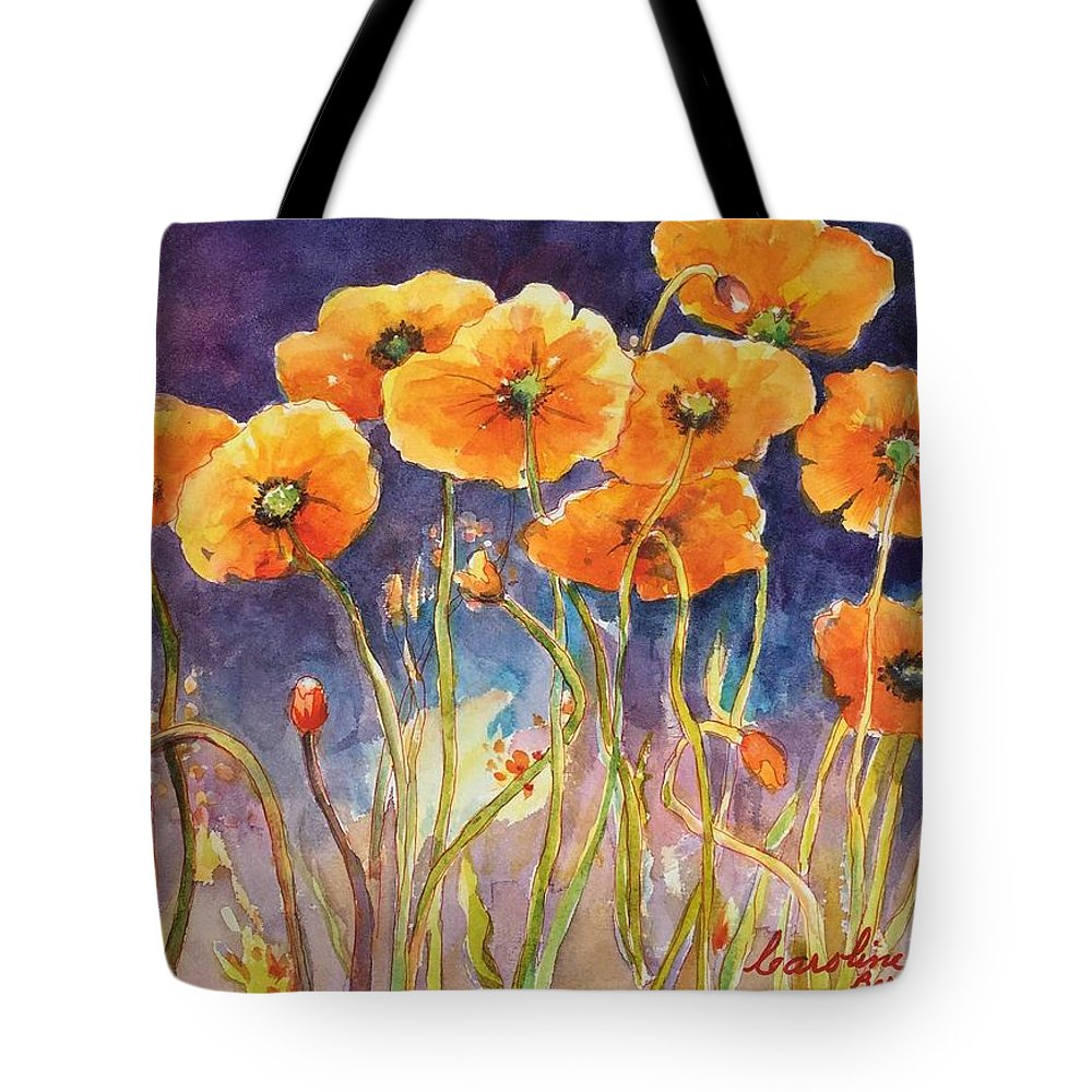 Poppies Tote Bag featuring the painting Catching The Light by Caroline Patrick