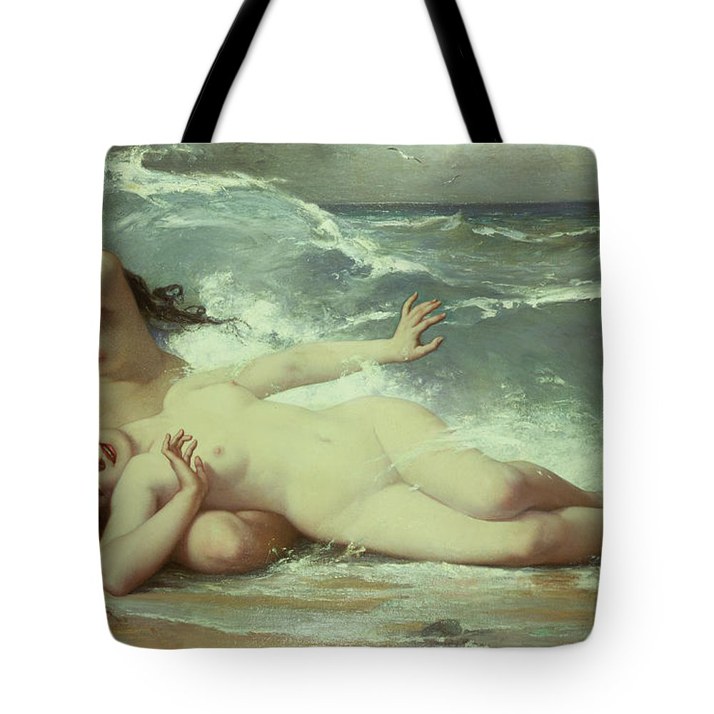 Nude Tote Bag featuring the painting Catching waves by Paul Albert Laurens