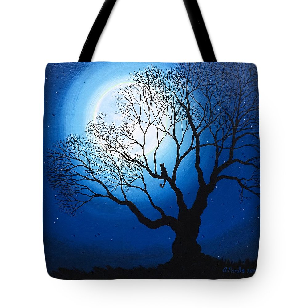 Cat Tote Bag featuring the painting Catemplation by Andrea Parks