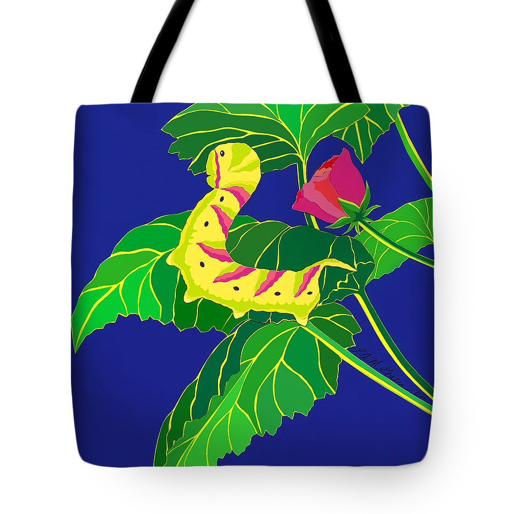 Nature Tote Bag featuring the drawing Caterpillar by Lucyna A M Green