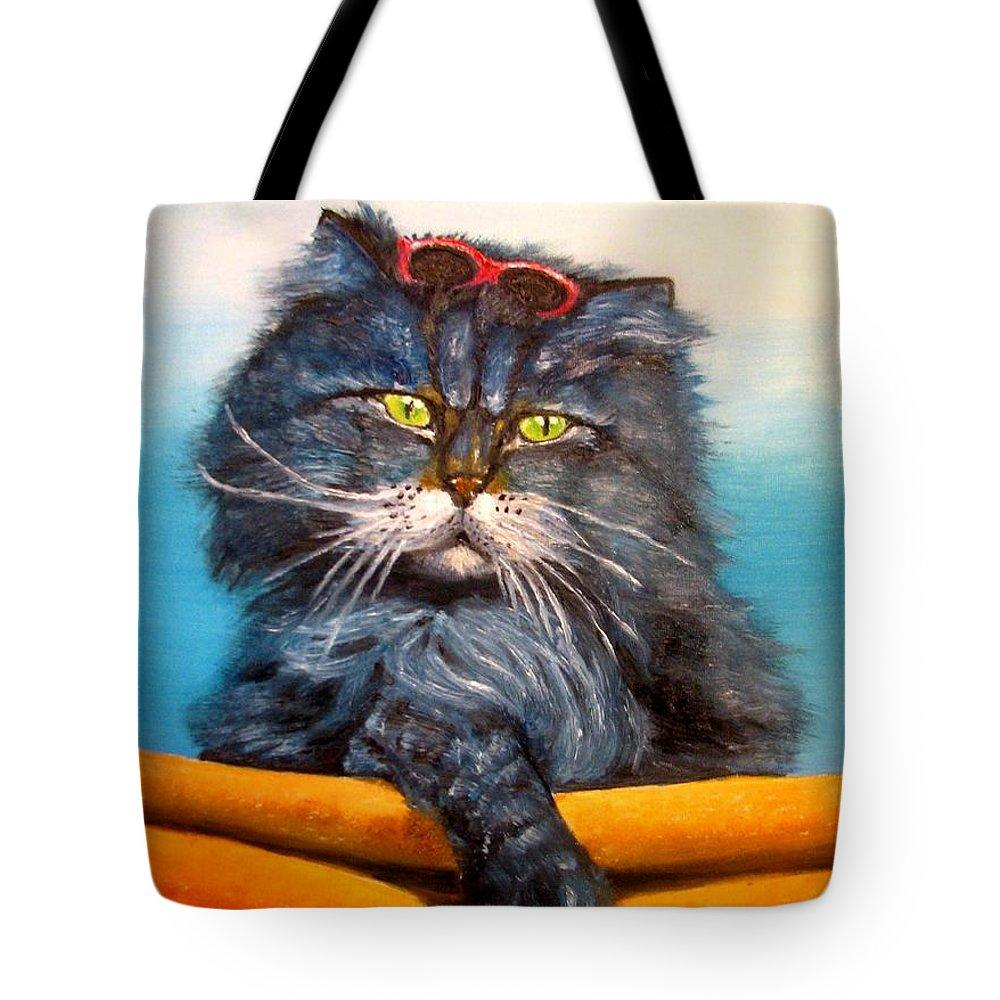 Cat Tote Bag featuring the painting Cat.go To Swim.original Oil Painting by Natalja Picugina