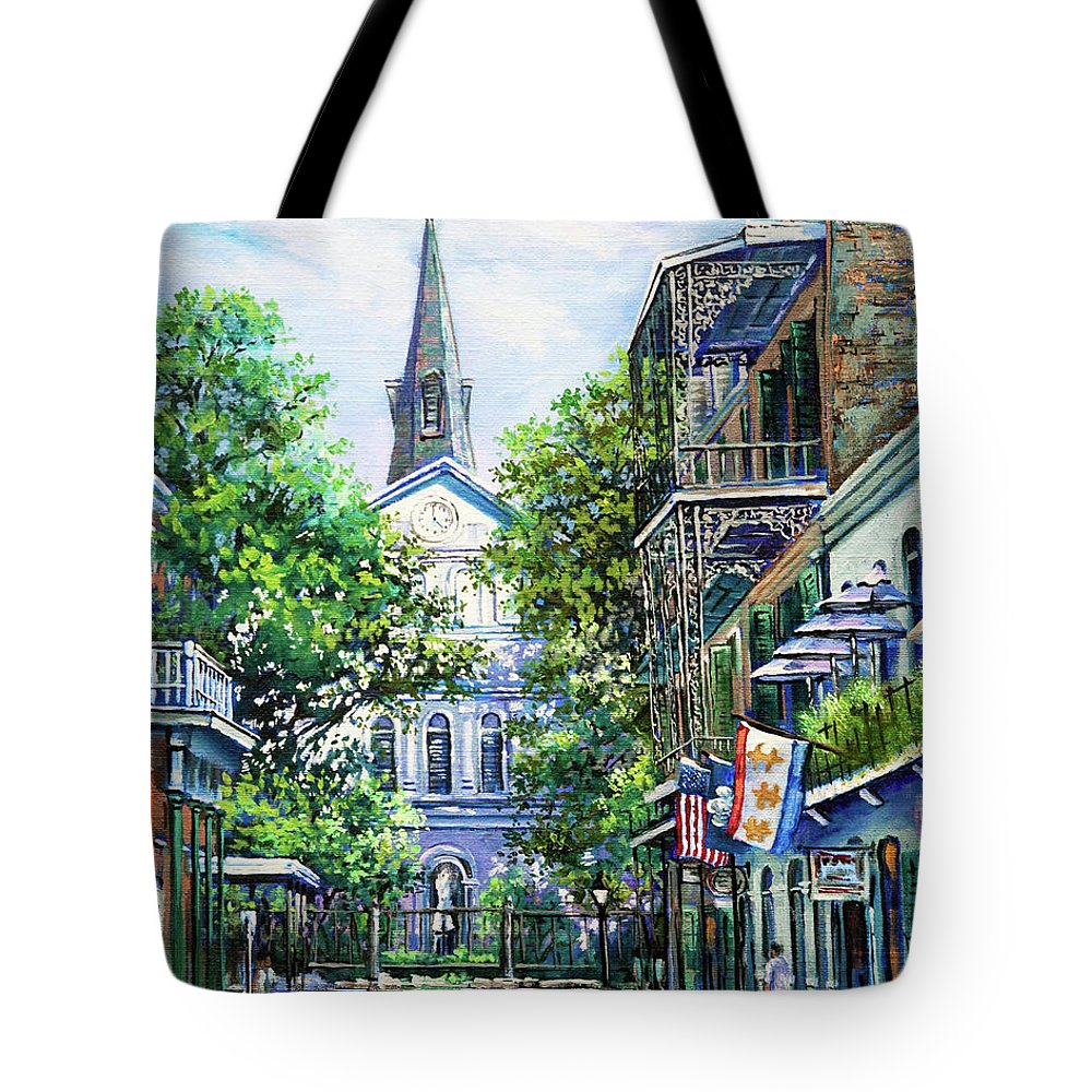 St. Louis Cathedral Tote Bag featuring the painting Cathedral At Orleans by Dianne Parks