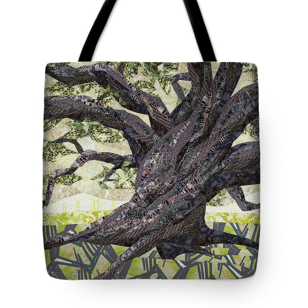 Tree Tote Bag featuring the tapestry - textile Cathedral Oak by Linda Beach