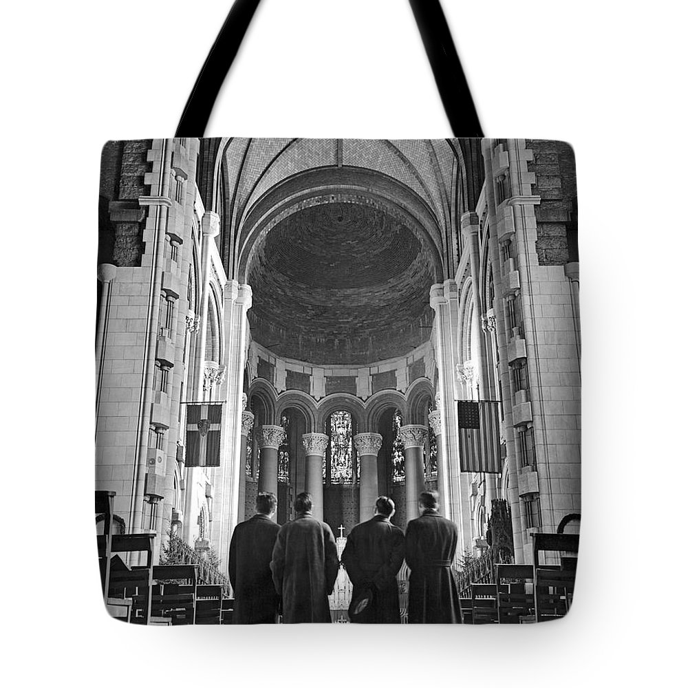 1930s Tote Bag featuring the photograph Cathedral Of St. John In Nyc by Underwood Archives
