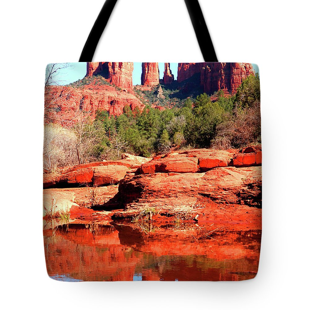 Southwest Tote Bag featuring the photograph Cathedral Reflections 2 by Howard Bagley