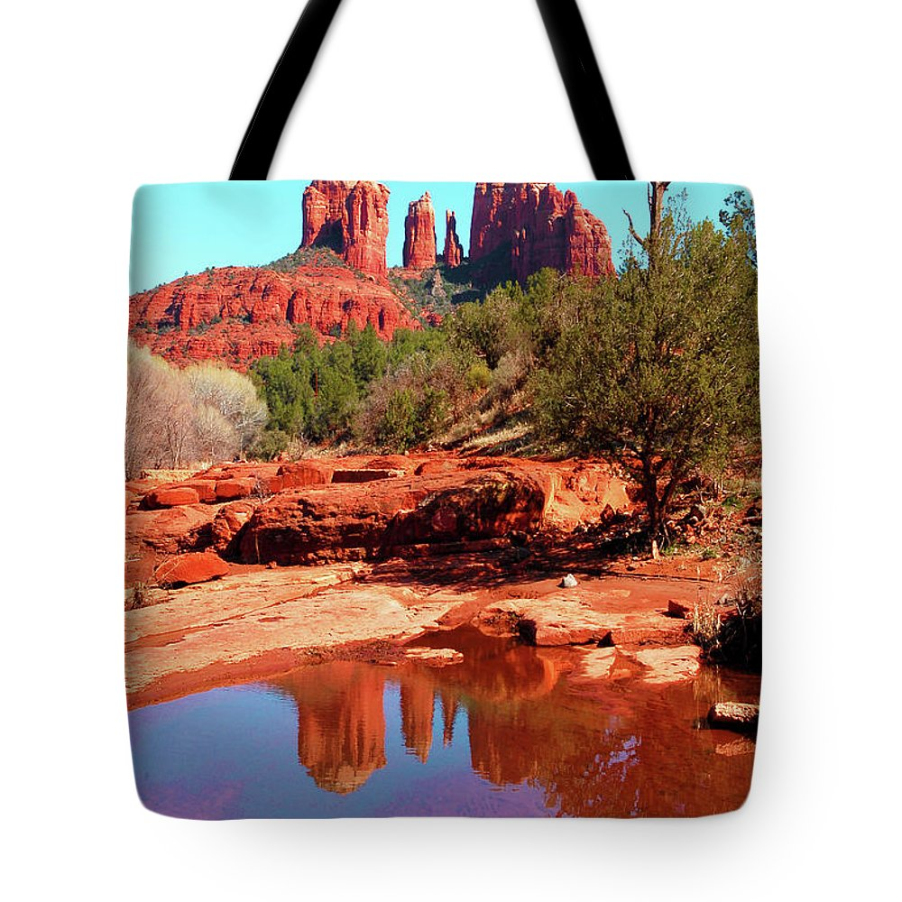 Southwest Tote Bag featuring the photograph Cathedral Reflections by Howard Bagley