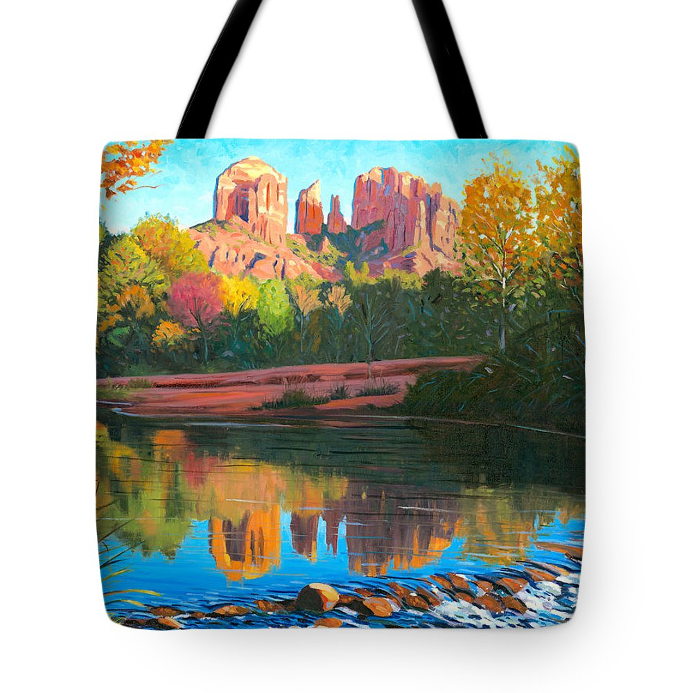 Oak Creek Tote Bag featuring the painting Cathedral Rock - Sedona by Steve Simon