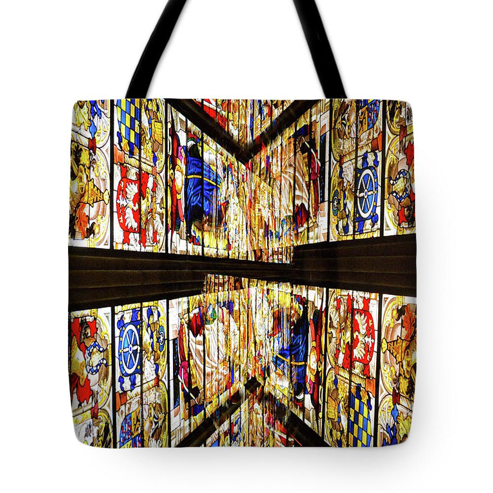 Stained Glass Windows Tote Bag featuring the photograph Cathedral Window Montage by Thomas Carroll