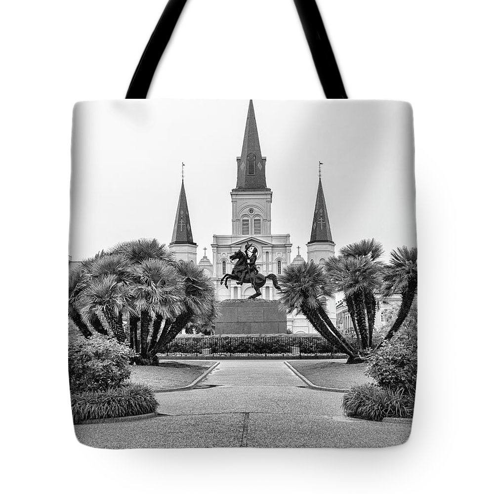 Andrew Jackson Tote Bag featuring the photograph Catholic Basilica Jackson Sq Andrew Jackson New Orleans by Chuck Kuhn