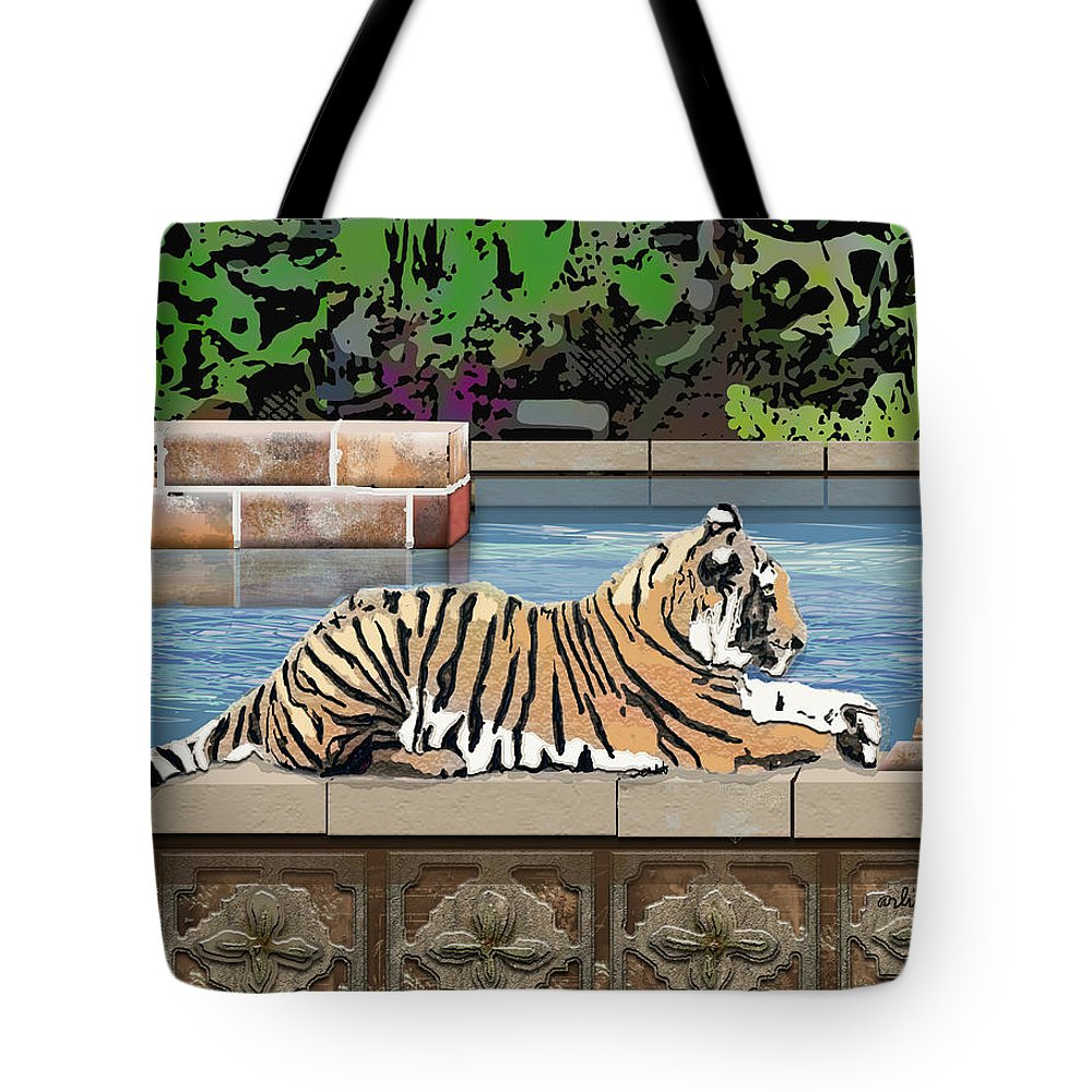 Tiger Tote Bag featuring the digital art Catnap by Arline Wagner