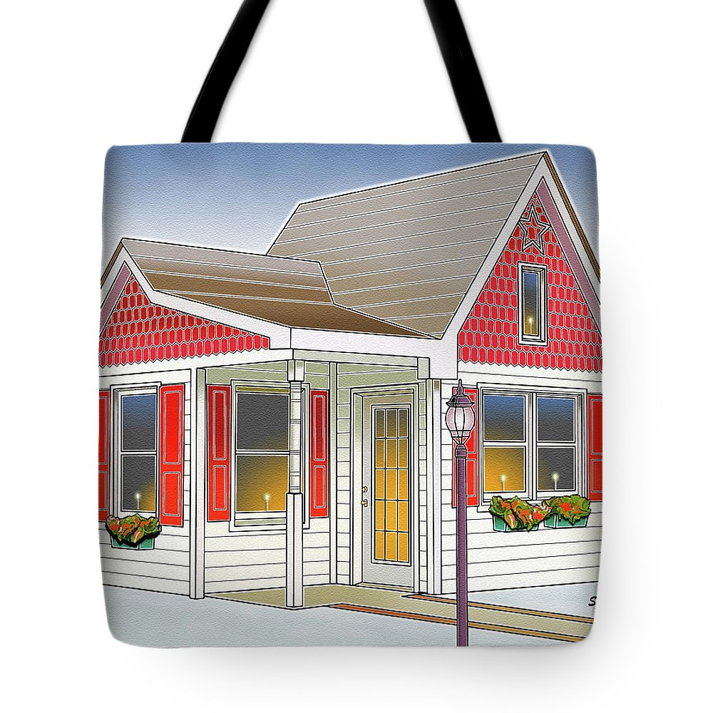 Catonsville Tote Bag featuring the digital art Catonsville Santa House by Stephen Younts