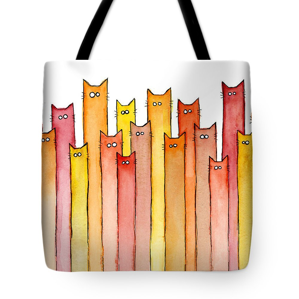 Watercolor Tote Bag featuring the painting Cats Autumn Colors by Olga Shvartsur