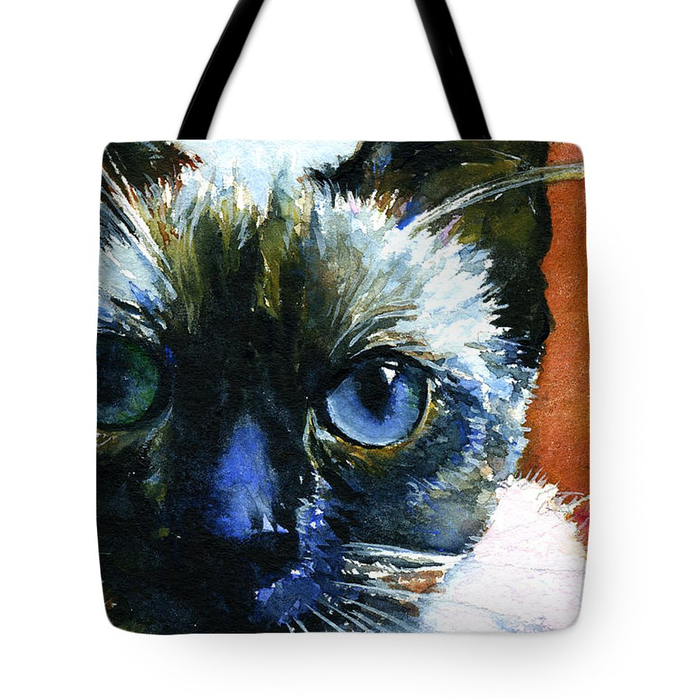 Cats Tote Bag featuring the painting Cats Eyes 13 by John D Benson