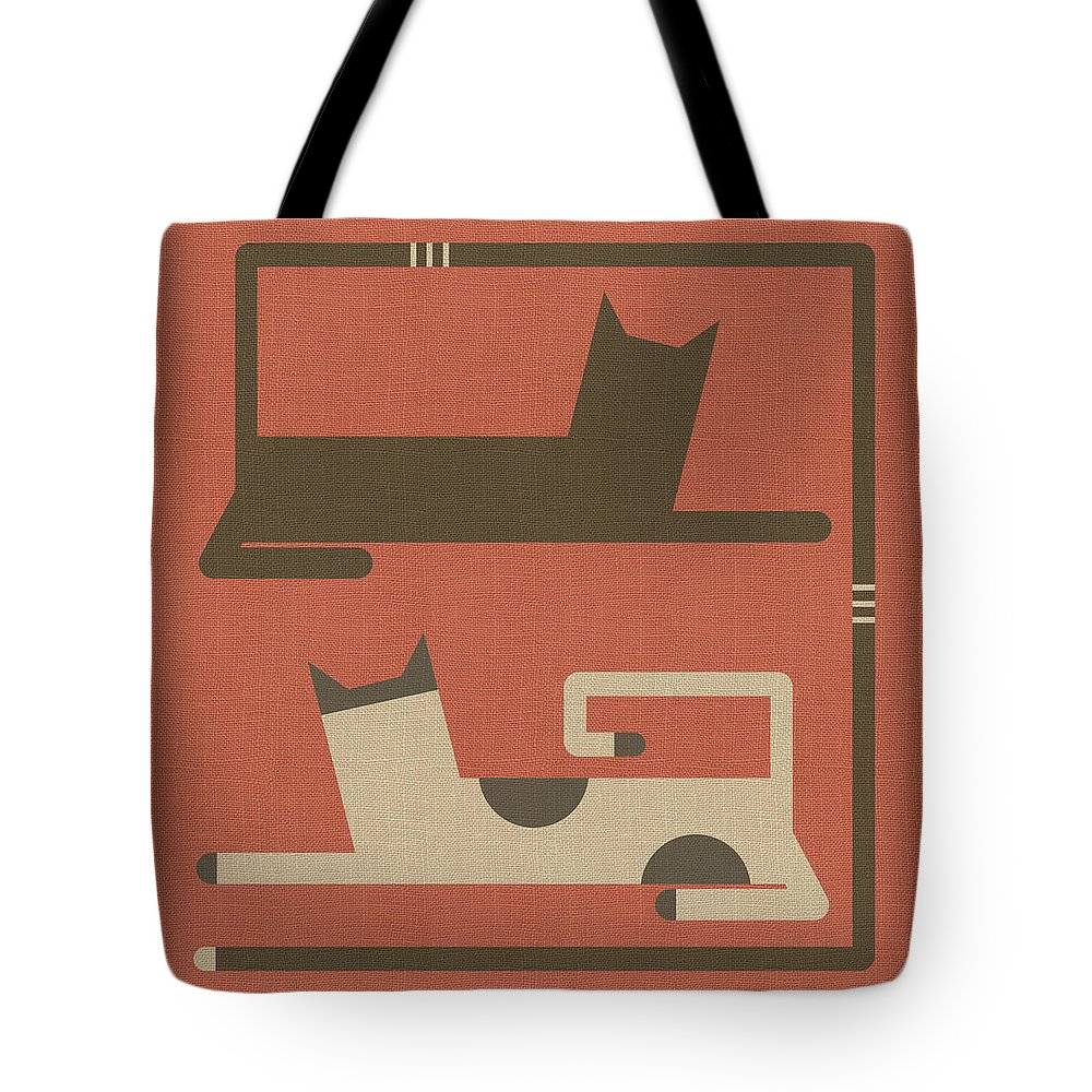 Cats Tote Bag featuring the digital art Cats In Love by Absentis Designs