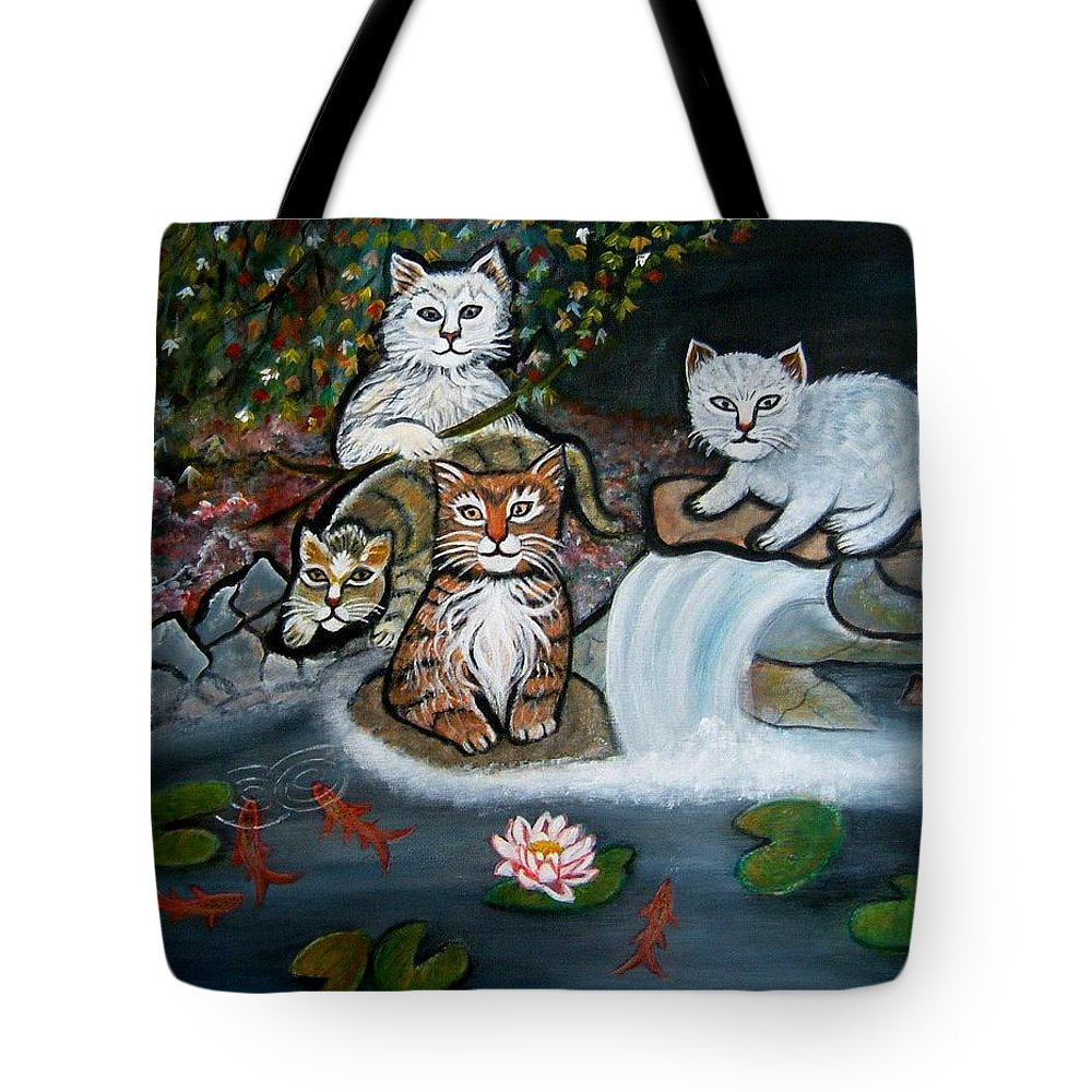 Acrylic Art Landscape Cats Animals Figurative Waterfall Fish Trees Tote Bag featuring the painting Cats In The Wild by Manjiri Kanvinde
