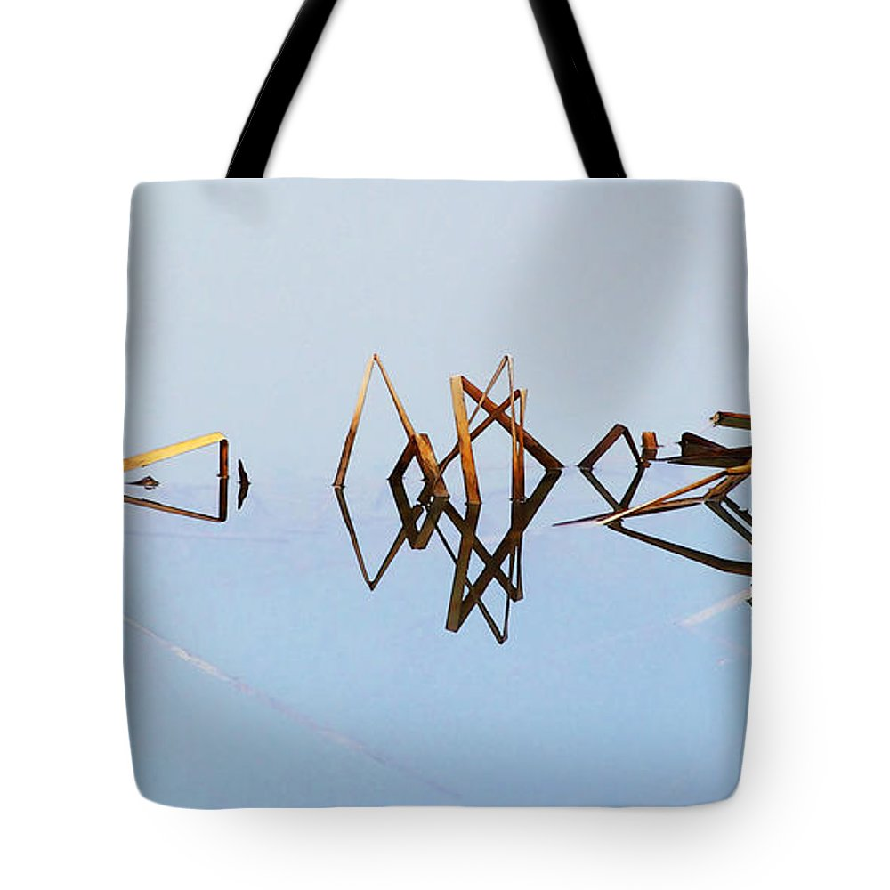 Cattails Weeds Water Reflections Pond Lake Fog Abstract Tote Bag featuring the photograph Cattail Reflections by Francesa Miller