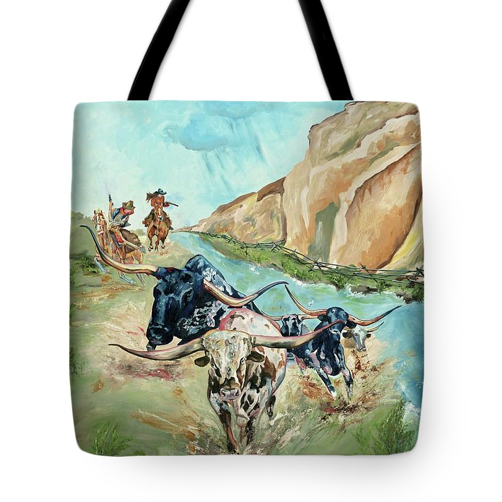 Cowboys Tote Bag featuring the painting Cattle Drive by Debbie Sampson