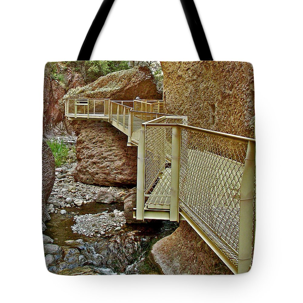 Catwalk Corners Over Whitewater Creek On Catwalk National Recreation Trail  Near Glenwood-new Mexico Tote Bag