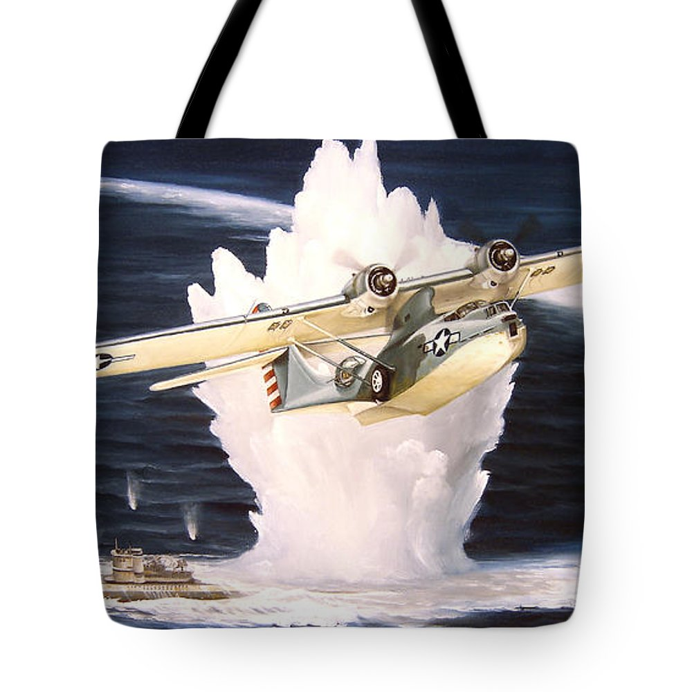 Military Tote Bag featuring the painting Caught On The Surface by Marc Stewart