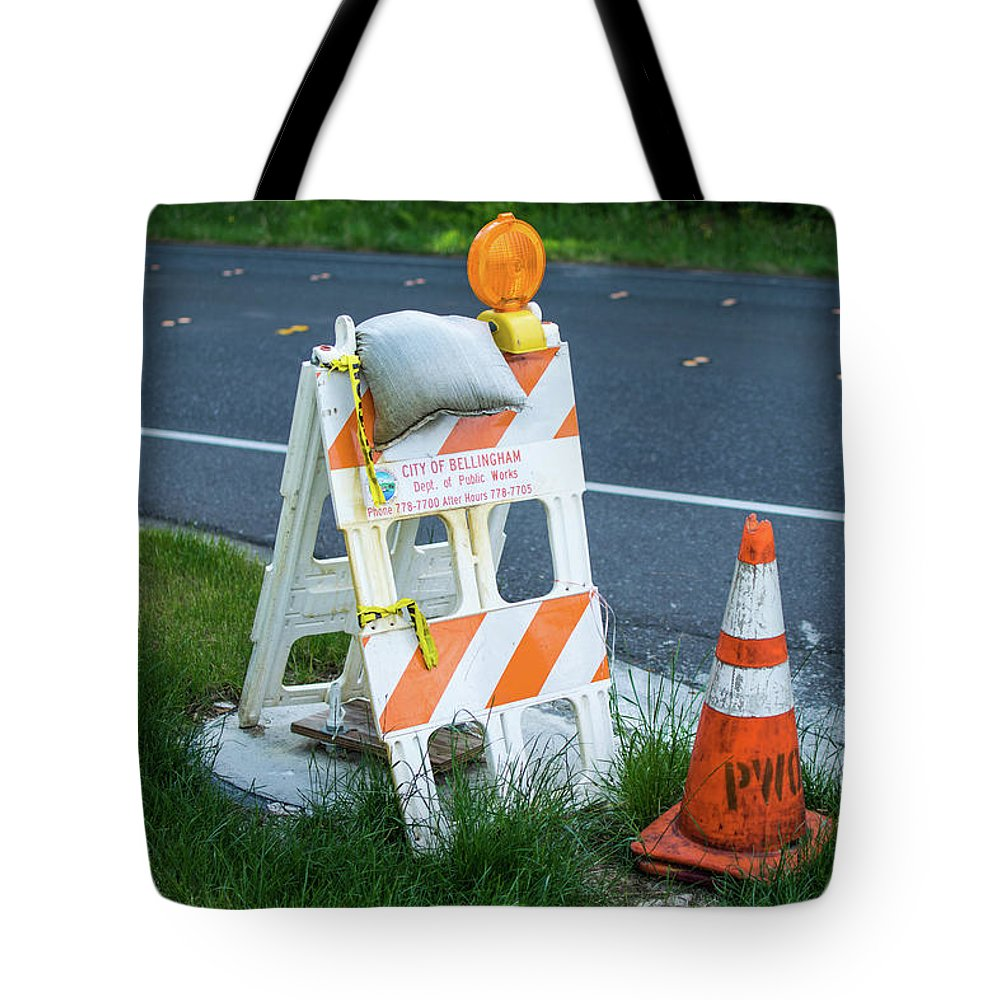 Road Work Tote Bag featuring the photograph Caution, Road Work by Tom Cochran