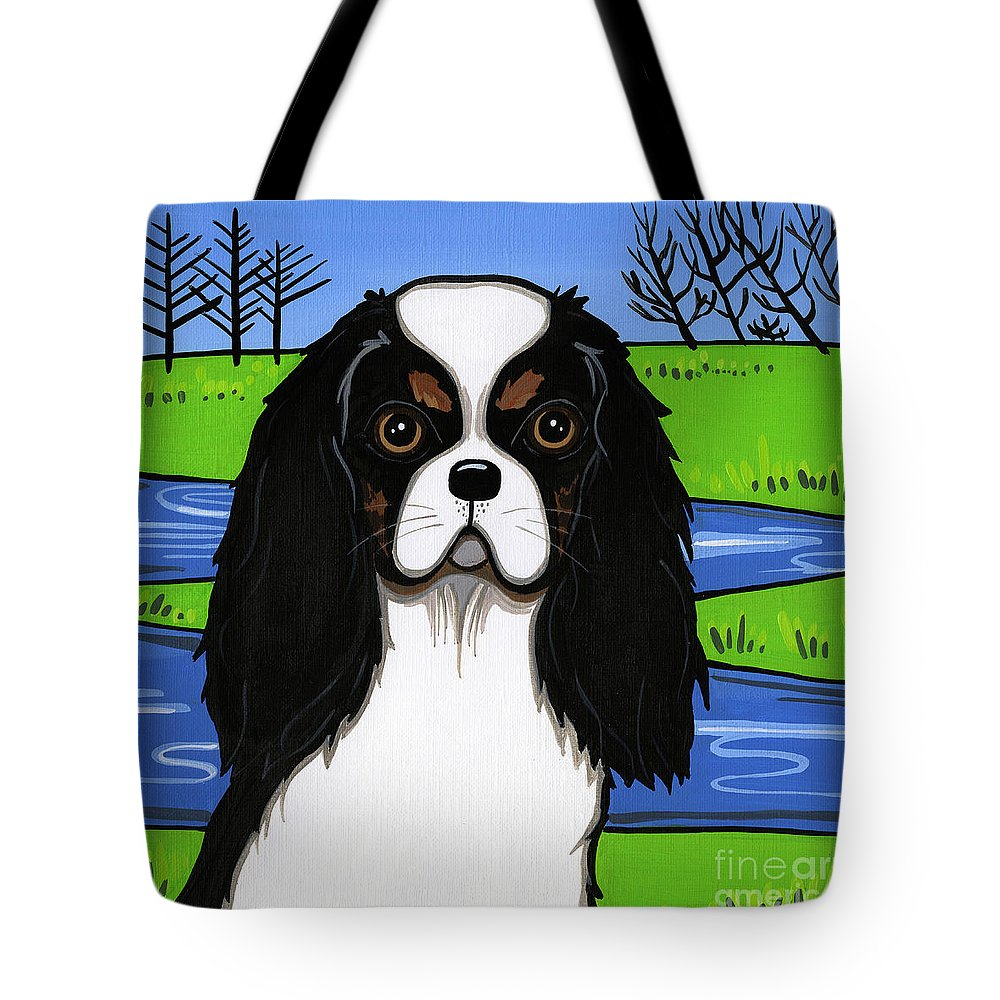 Cavs Tote Bag featuring the painting Cavalier King Charles Spaniel by Leanne Wilkes