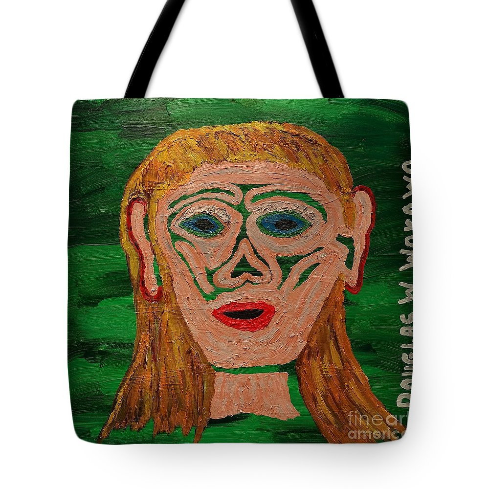 Abstract Tote Bag featuring the painting Cave Lady by Douglas W Warawa