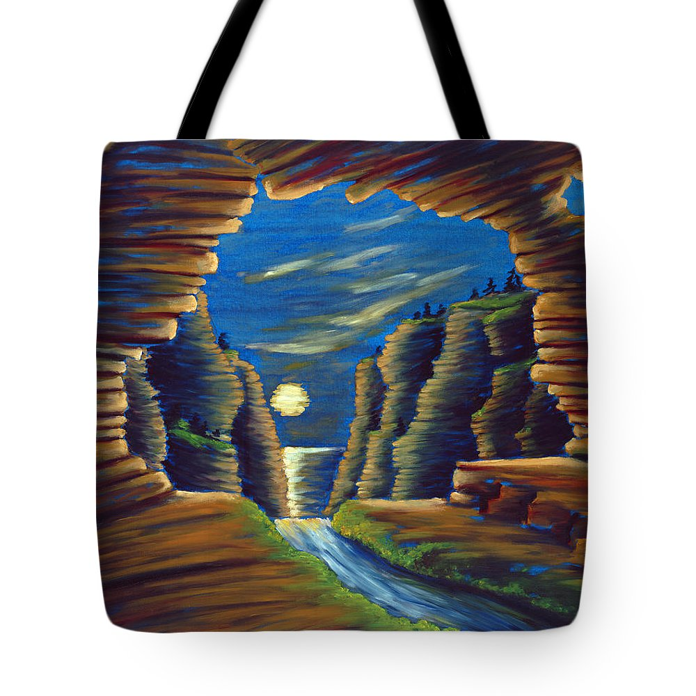 Cave Tote Bag featuring the painting Cave With Cliffs by Jennifer McDuffie