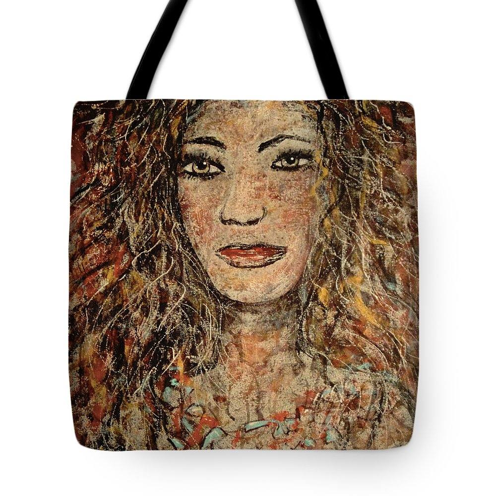 Cave Woman Tote Bag featuring the painting Cave Woman by Natalie Holland