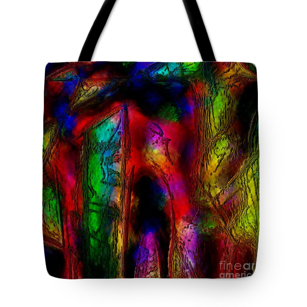 Abstract Tote Bag featuring the painting Caverns Of The Mind by Dee Flouton