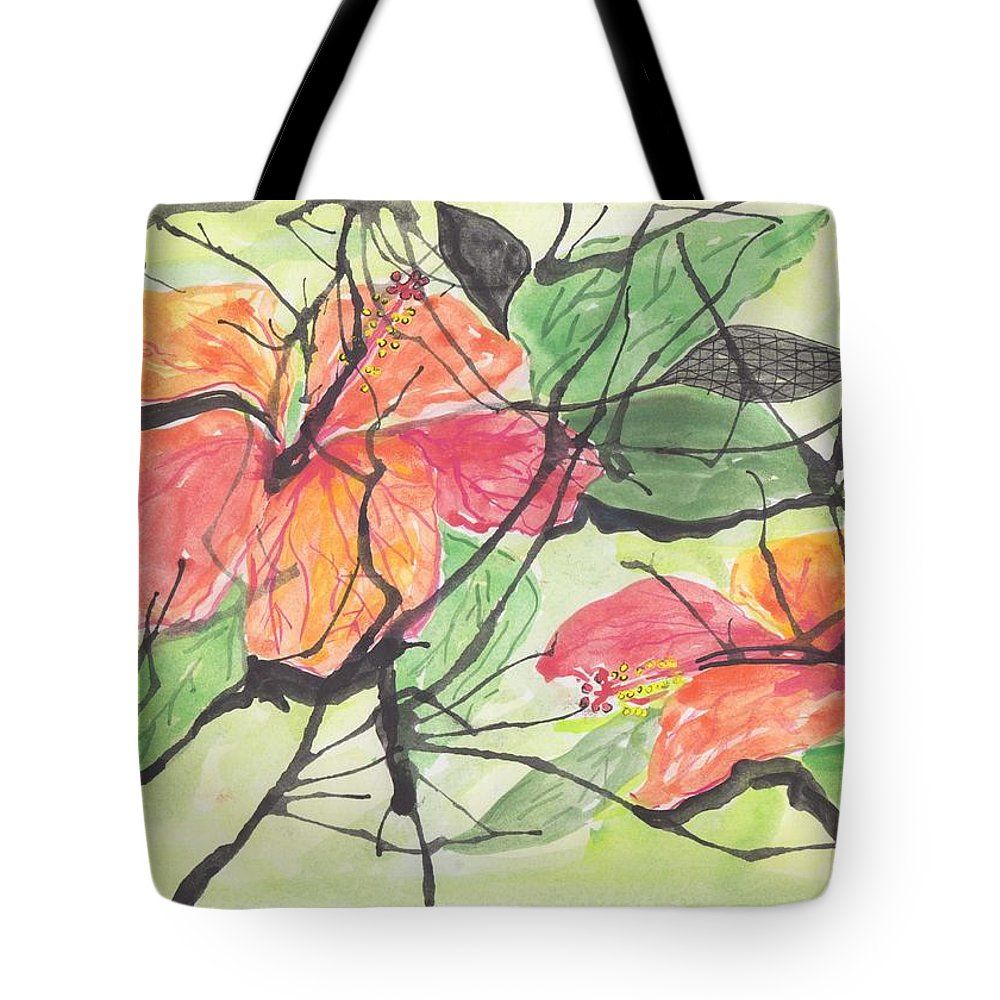 Abstract Cayena Flowers Tote Bag featuring the painting Cayenas Atrapadas Hibiscus by Ivonne Sequera
