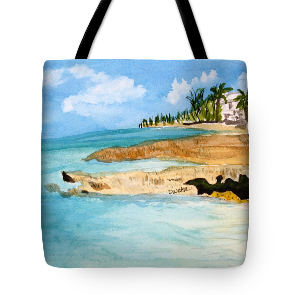 Shore Cayman Tote Bag featuring the painting Cayman Shoreline by Donna Walsh