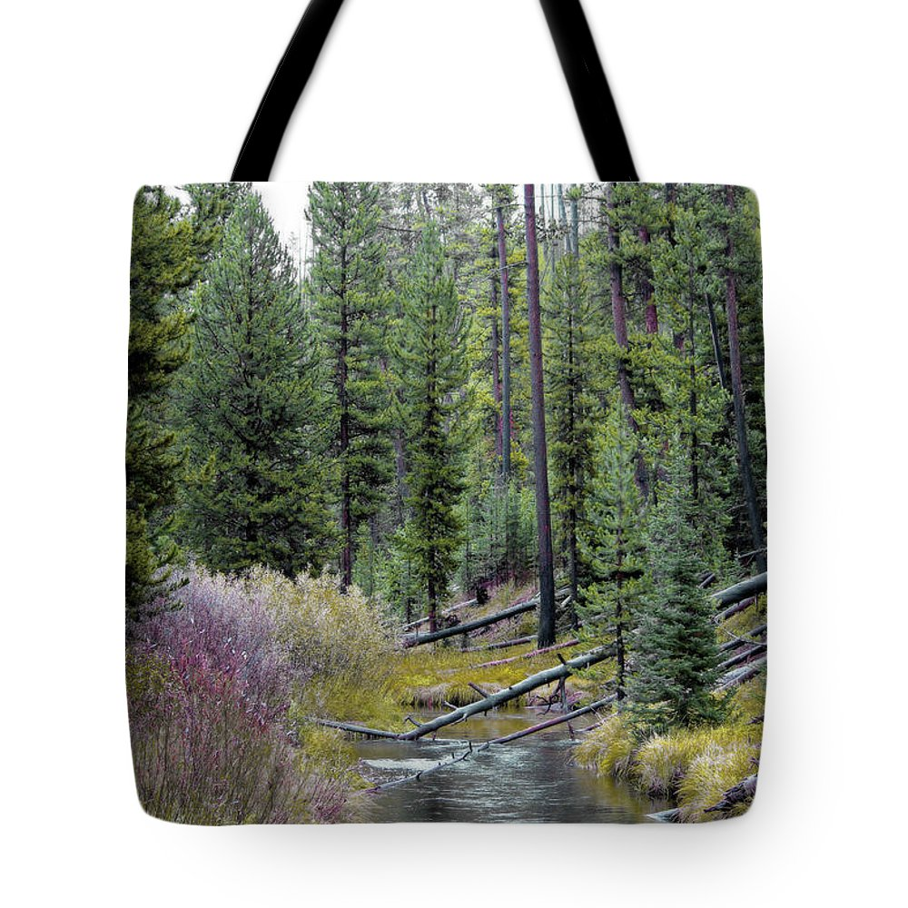 Yellowstone Tote Bag featuring the photograph Above The Falls by Lynn Sprowl