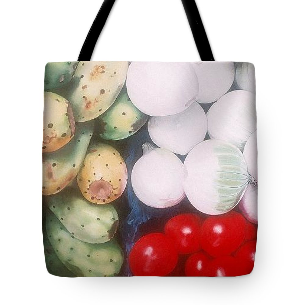 Hyperrealism Tote Bag featuring the painting Cebollas Tunas Y Tomates by Michael Earney