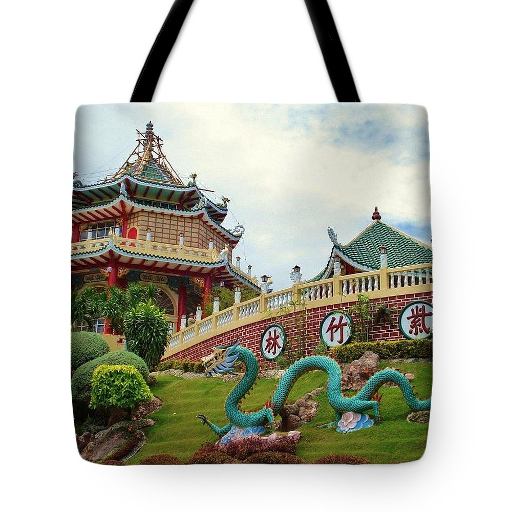 Situated In The Beverly Hills Subdivision In Cebu City Tote Bag featuring the digital art Cebu Taoist Temple by Benjie Cuevas