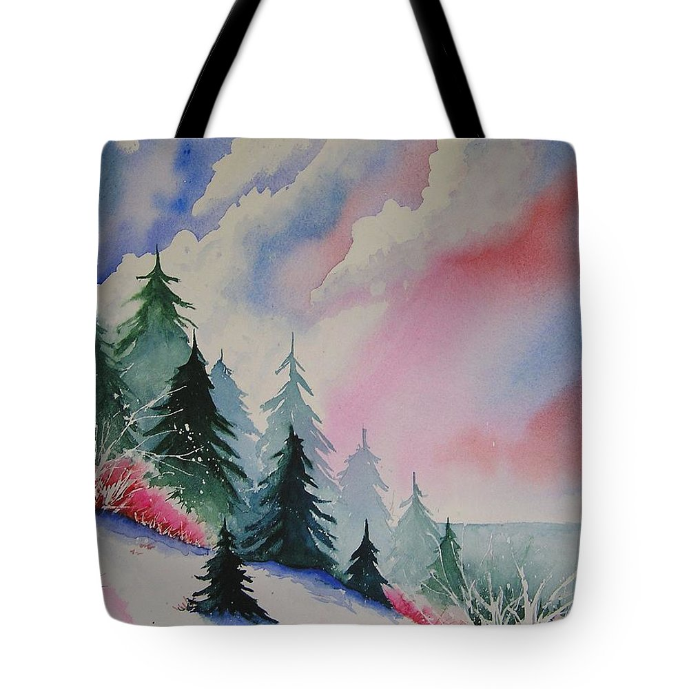 Snow Tote Bag featuring the painting Cedar Fork Snow by Karen Stark