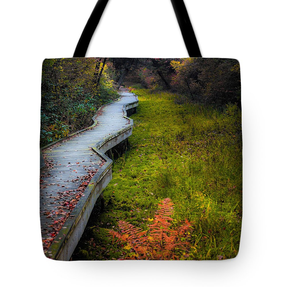Trail Tote Bag featuring the photograph Cedar Swamp by Heather Hubbard