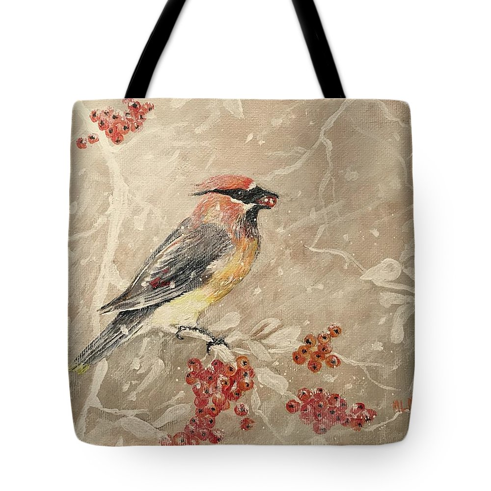 Cedar Waxwing Tote Bag featuring the painting Cedar Waxwing by ML McCormick