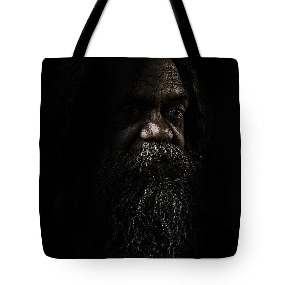 Fullblood Aborigine Tote Bag featuring the photograph Cedric In Shadows by Sheila Smart Fine Art Photography