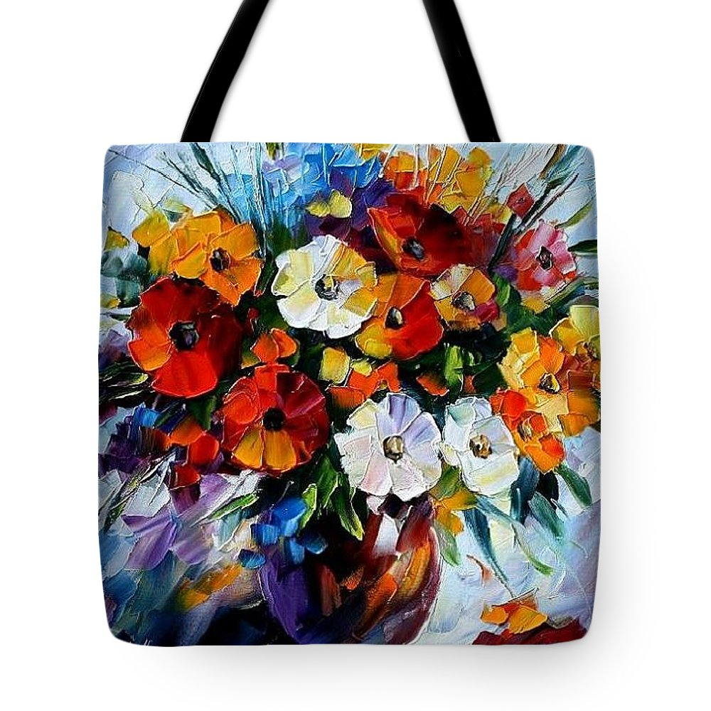 Flowers Tote Bag featuring the painting Celebration Bouquet by Leonid Afremov