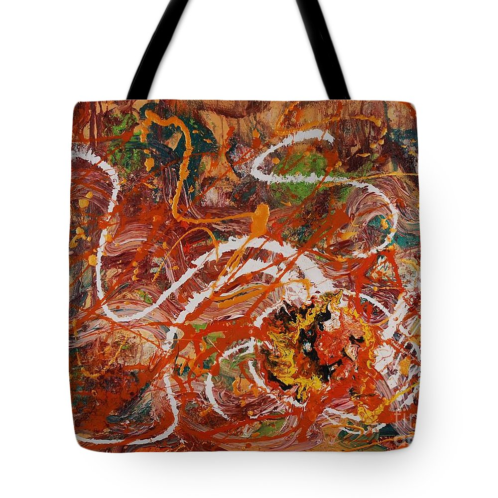 Orange Tote Bag featuring the painting Celebration II by Nadine Rippelmeyer