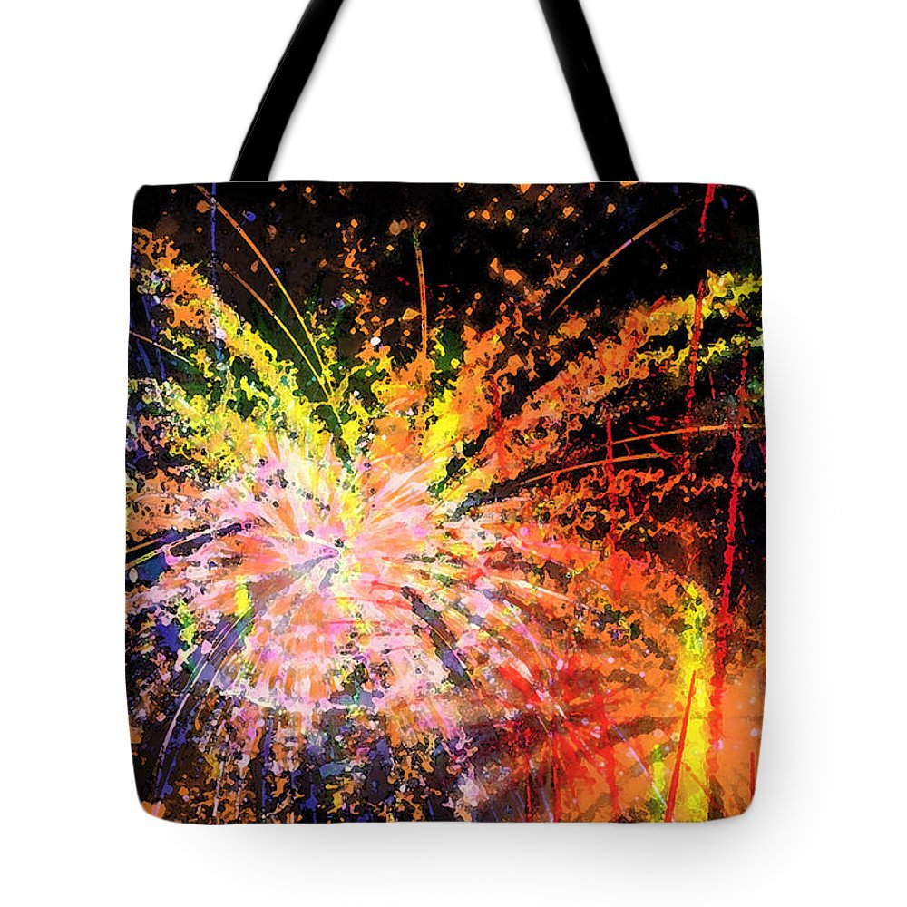 Fireworks Tote Bag featuring the digital art Celebration by Richard Rizzo