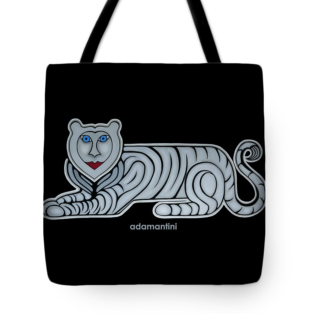 Celestial Tote Bag featuring the painting Celestial big white tiger woman by Adamantini Feng shui